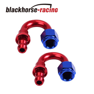 2PC Red & Blue 180 Degree Aluminum Push on Oil Fuel Line Hose End Fittings AN6