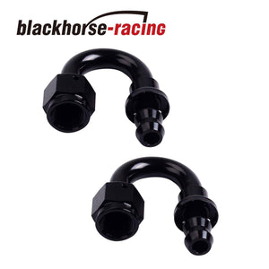 2PC Black AN 8 180 Degree Aluminum Push on Oil Fuel Line Hose End Fitting 8-AN