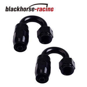 2PC Black AN 12  180 Degree Aluminum Swivel Oil Fuel Line Hose End Fitting 10-AN