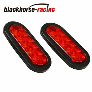 2 x 6'' Oval Trailer Truck Stop Turn Tail Brake Lights grommet Mount 6LED Boat