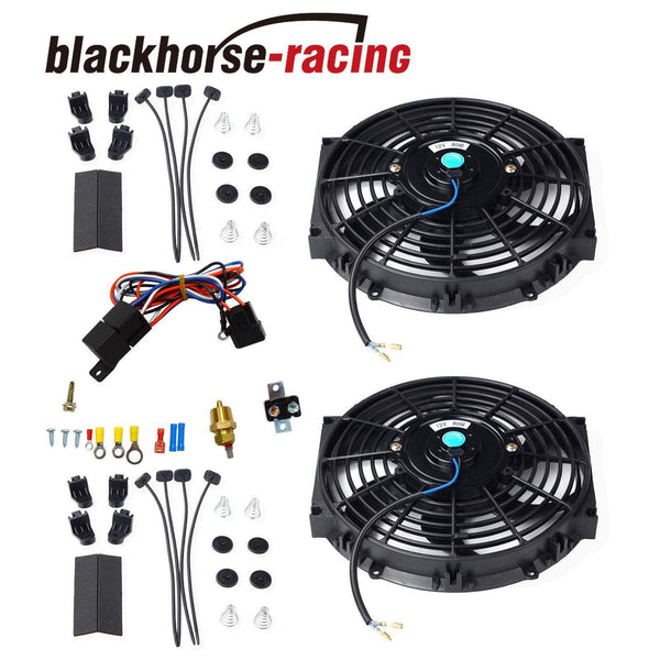 2X 10'' Electric Radiator Cooling Fan w/ & Thermostat Relay & Mounting Kits Black