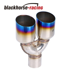 1Pcs 2.5''X3.5'' Duo Straight Exhaust Pipe Tip Blue Burnt Polished Stainless Steel