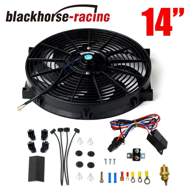 14'' Black Electric Radiator Fan High 2000+CFM Thermostat Wiring Switch Relay Kit