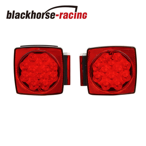 LED Submersible Square Trailer Tail Lights Under 80'' Brake Boat Stud Mount