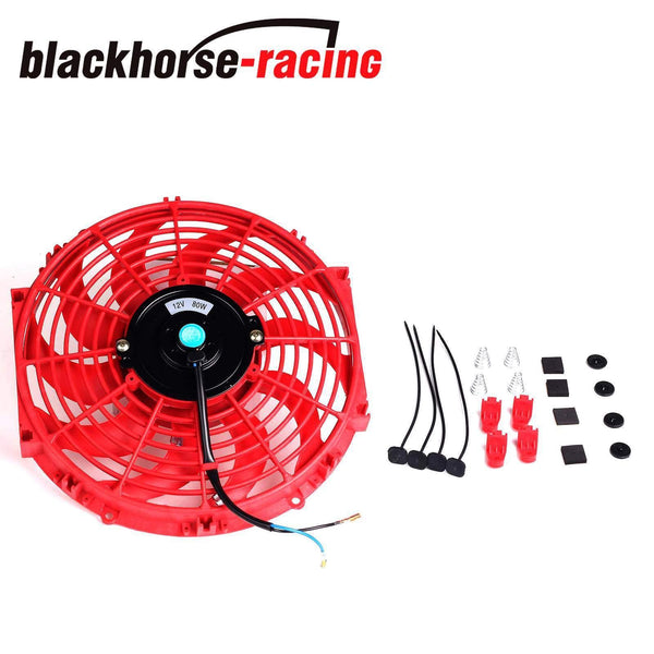 NEW RED 2X 12''ELECTRIC COOLING FAN PUSH-IN RADIATOR FIN PROBE + THERMOSTAT KIT