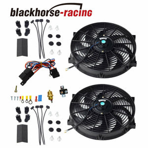 2X 14'' ELECTRIC COOLING RADIATOR FAN 3/8'' PROBE GROUND+THERMOSTAT SWITCH KIT BK