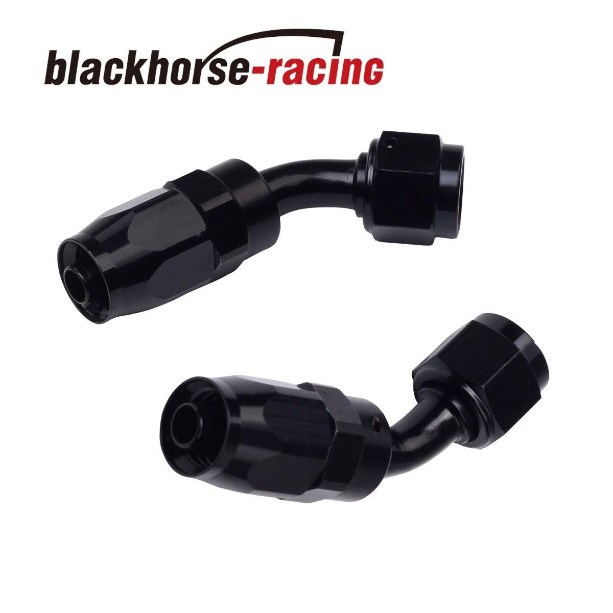 2PC Black AN 4  45 Degree Aluminum Swivel Oil Fuel Line Hose End Fitting 4-AN