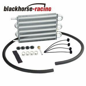 6 Row Transmission Oil Cooler & Mounting Kit Radiator Remote Aluminum