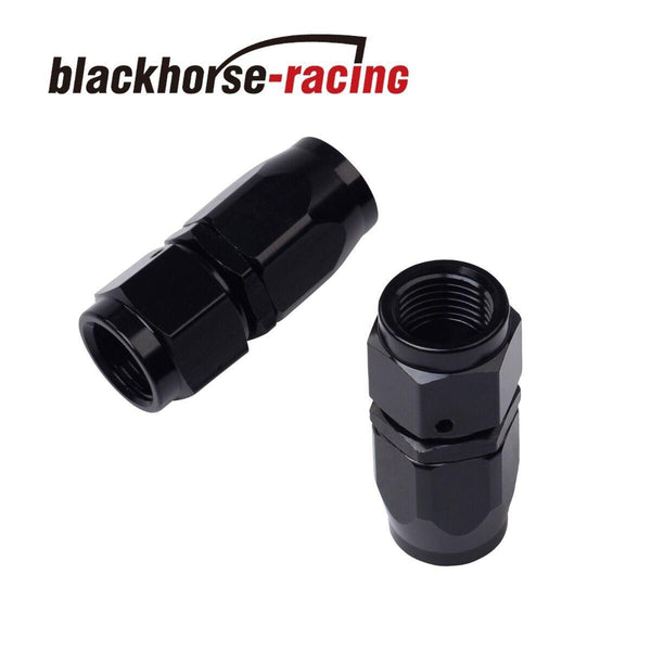 2PC Black AN 10 Straight Aluminum Swivel Oil Fuel Line Hose End Fitting 10-AN