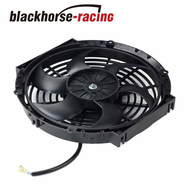 2X Black 10''Inch Radiator Fan Thin Electric Cooling 12V 1500Cf + 1X Coolant Tank