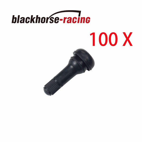 100 Pc Black Rubber MOST POPULAR VALVE TR 413 Snap-In Tire Valve Stems Short