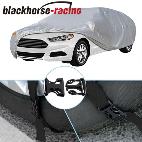 Full Car Cover Silver Waterproof Universal Fit Rain UV Dust Resistant Protection