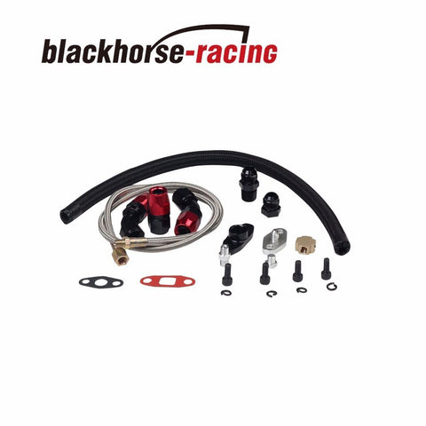 BLACK TURBO OIL DRAIN RETURN + FEED LINE FOR T3 T4 T04E T60 T61 T70 COMPLETE KIT
