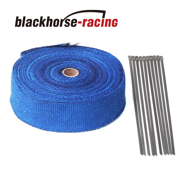 Blue 2'' x 50FT (15M) Exhaust Header Fiberglass Heat Wrap Tape w/10 Steel Ties