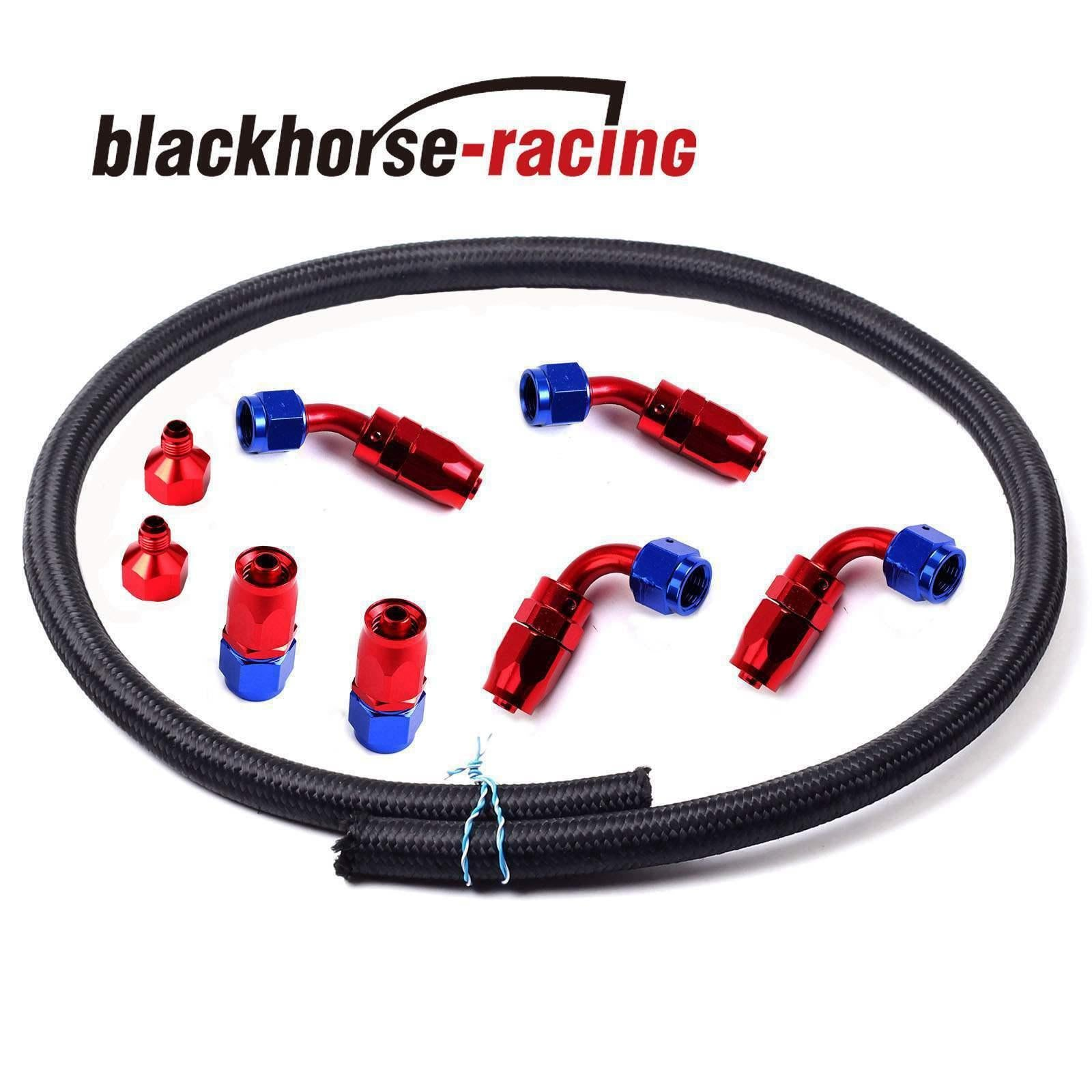 8Pcs Red-Blue Oil/Gas/Fuel Fitting Kits + AN6 12Feet Black Oil/Gas/Fuel  Hoses