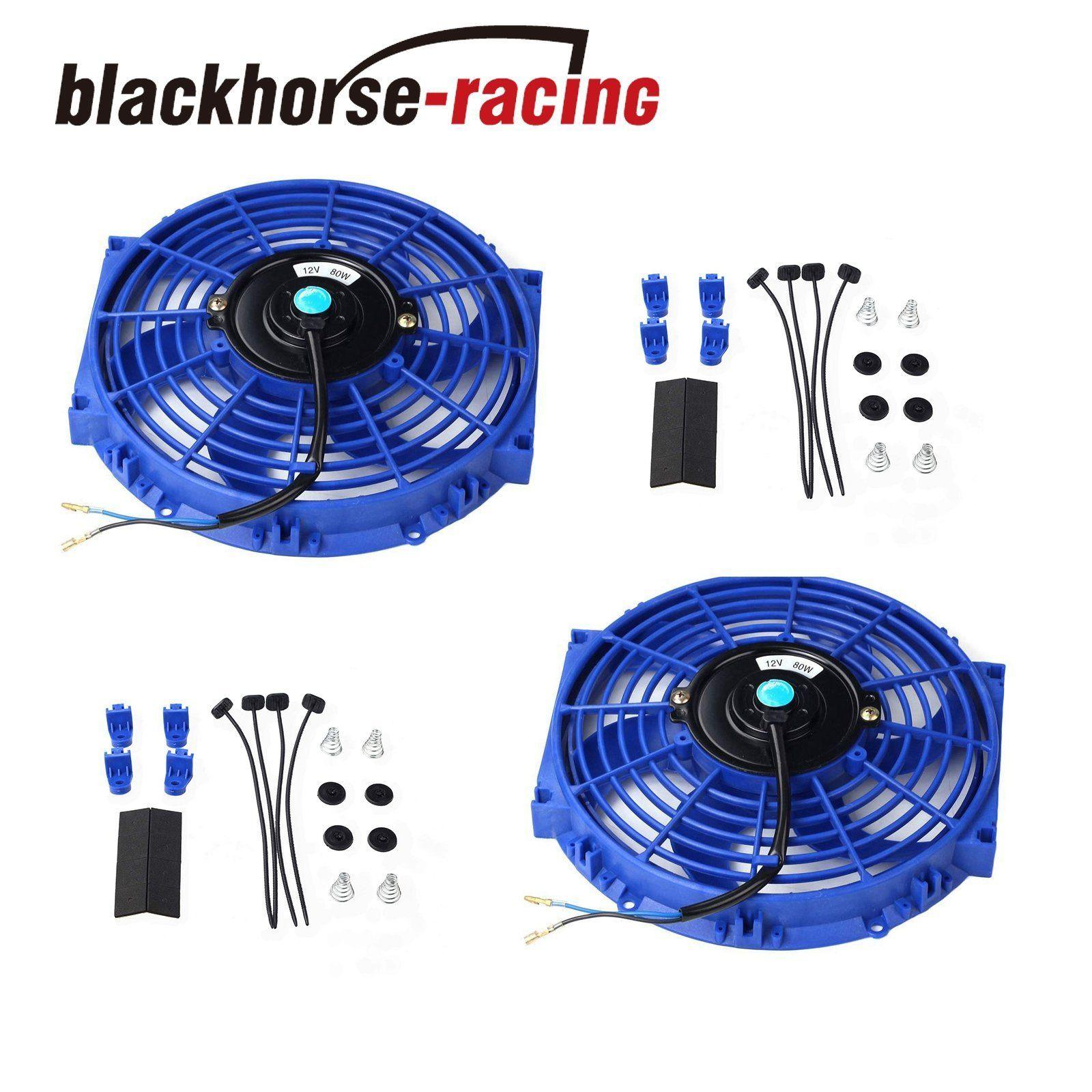 2X 10''ELECTRIC RADIATOR/ENGINE COOLING FAN+MOUNTING ZIP TIE KIT BLUE UNIVERSAL