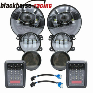 7'' LED Headlights Fog Turn Signal Tail Lights Lamp For 07-17 Jeep Wrangler JK