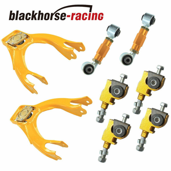 FITS 92-95 HONDA CIVIC EG REAR LOWER TOE ARM+FRONT ADJUSTER+CAMBER KIT YELLOW
