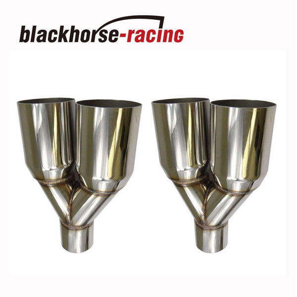 2Pcs 2.5'' In3.5''Out Straight Cut Duo Exhaust Tip Sliver Polished Stainless Steel