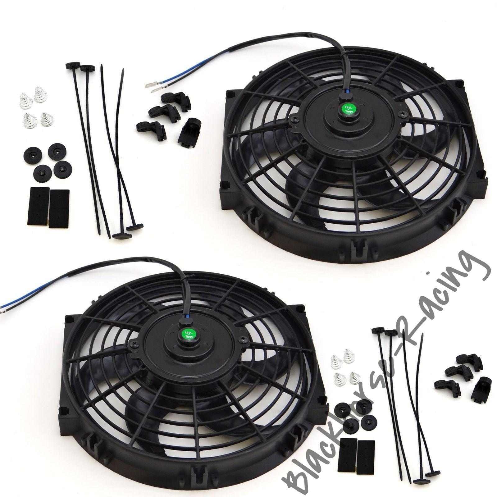 2X 10'' ELECTRIC RADIATOR/ENGINE COOLING FAN+MOUNTING ZIP TIE KITS BLACK