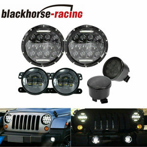 7'' LED Headlight +4'' Fog Light Turn Signal Combo Kit Fit 07-17 Jeep Wrangler JK