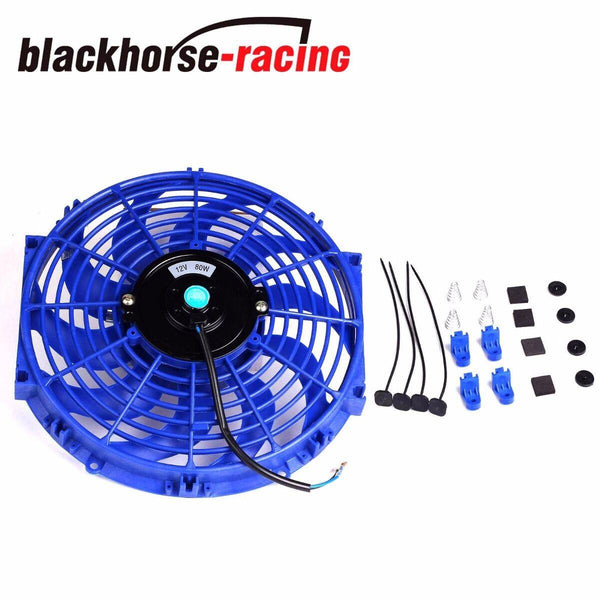 12'' BLUE ELECTRIC RADIATOR/ENGINE COOLING PUSH PULL FAN+MOUNTING ZIP TIE KIT