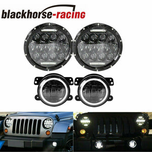 For 07-17 Jeep Wrangler JK 7'' LED Headlight + Fog Light Turn Combo Kit