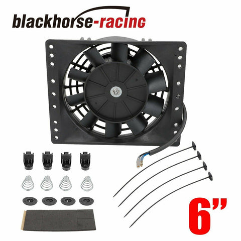6''Slim Push Pull Electric Cooling Fan Radiator Mount Kit 650CFM Universal Black