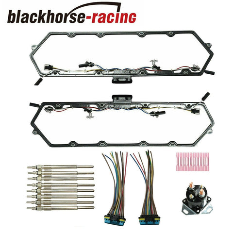 8Pcs Harness Glow Plugs + Valve Cover Gaskets + Relay For 99-03 7.3L Powerstroke