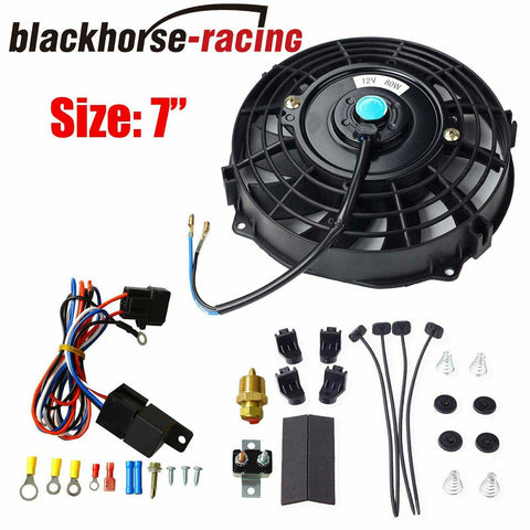 7'' Electric Radiator Cooling Fan + Thermostat Relay Install Kit Universal Black