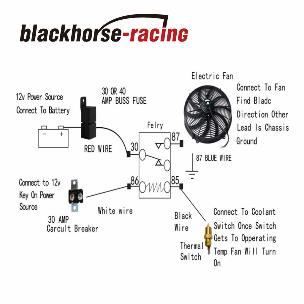 electric fan wiring with switch and relay diagram 2pcs 10  electric radiator cooling fan w thermostat relay  2pcs 10  electric radiator cooling fan