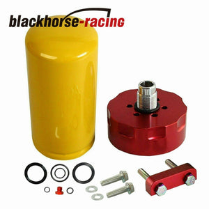 Fuel Filter Adapter Red CAT Kit w/ Primer Seals Fit 01-16 GM Duramax 6.6L Diesel