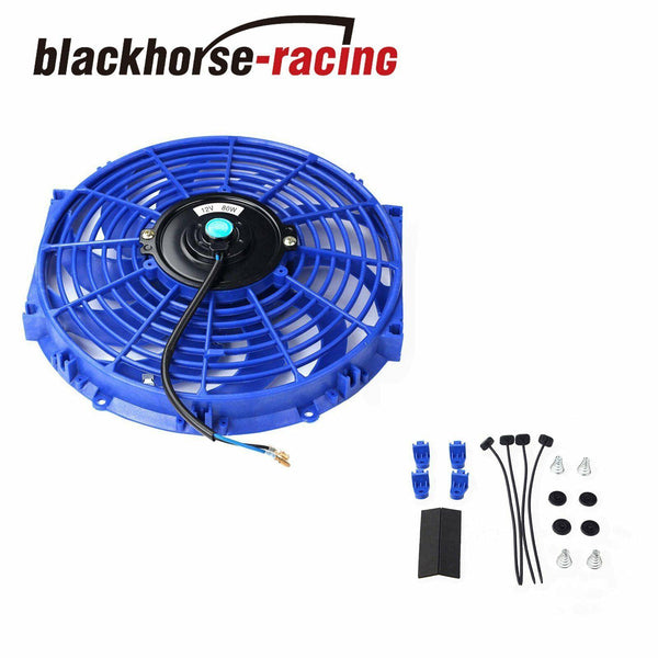 2PCS 12'' BLUE ELECTRIC COOLING FAN PUSH-IN RADIATOR FIN PROBE+THERMOSTAT KITS