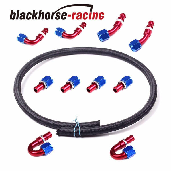 Black 20Ft 8AN Stainless Steel Braided Fuel Line+10Pc RDBU 8AN Push Lock Fitting