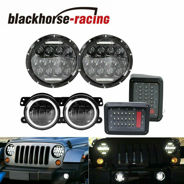 For 07-17 Jeep Wrangler JK 7'' LED Headlight Fog Light Turn Tail Lights Combo Kit