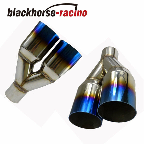 2Pcs 2.5''In3.5''Out  Exhaust Straight cut Tip Blue Burnt Polished Stainless Steel
