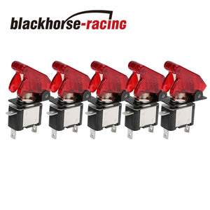 5PCS 12V Red Cover LED Toggle Switch Racing SPST ON/OFF 20A New For Car ATV