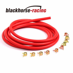 10 Feet Red 5/32''/4mm Silicone Vacuum Hose + 10 Pc 9mm Spring Clip Clamps