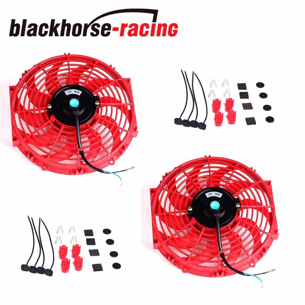 2X12'' RED ELECTRIC RADIATOR/ENGINE COOLING FAN+MOUNTING ZIP TIE KITS UNIVERSAL
