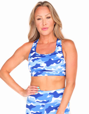 Water Camo Racer Back Sports Bra