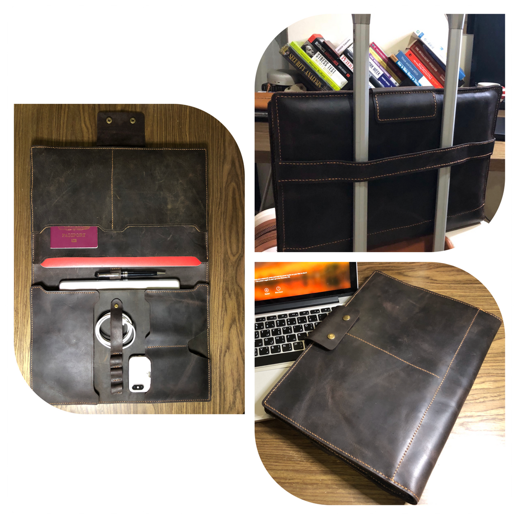 Hand-Made Leather Devices Sleeve - Ipad Laptop Macbook