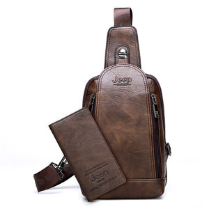 JEEP BULUO Brand Travel Hiking Messenger Shoulder Bags Men's Large Capacity Sling Crossbody Bag Solid Men Leather Bag