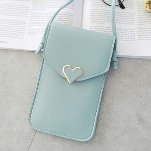 Women Heart-shaped Transparent Screen Mobile Phone Bag 2020 New Mini Messenger Bags Lady Handbag and Purses Small Phone Bag
