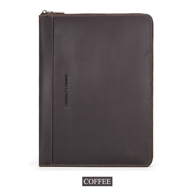 CONTACT'S FAMILY Crazy Horse Leather Padfolio Folder Document Storage Business Portfolio Holder Organizer with Zippered Closure