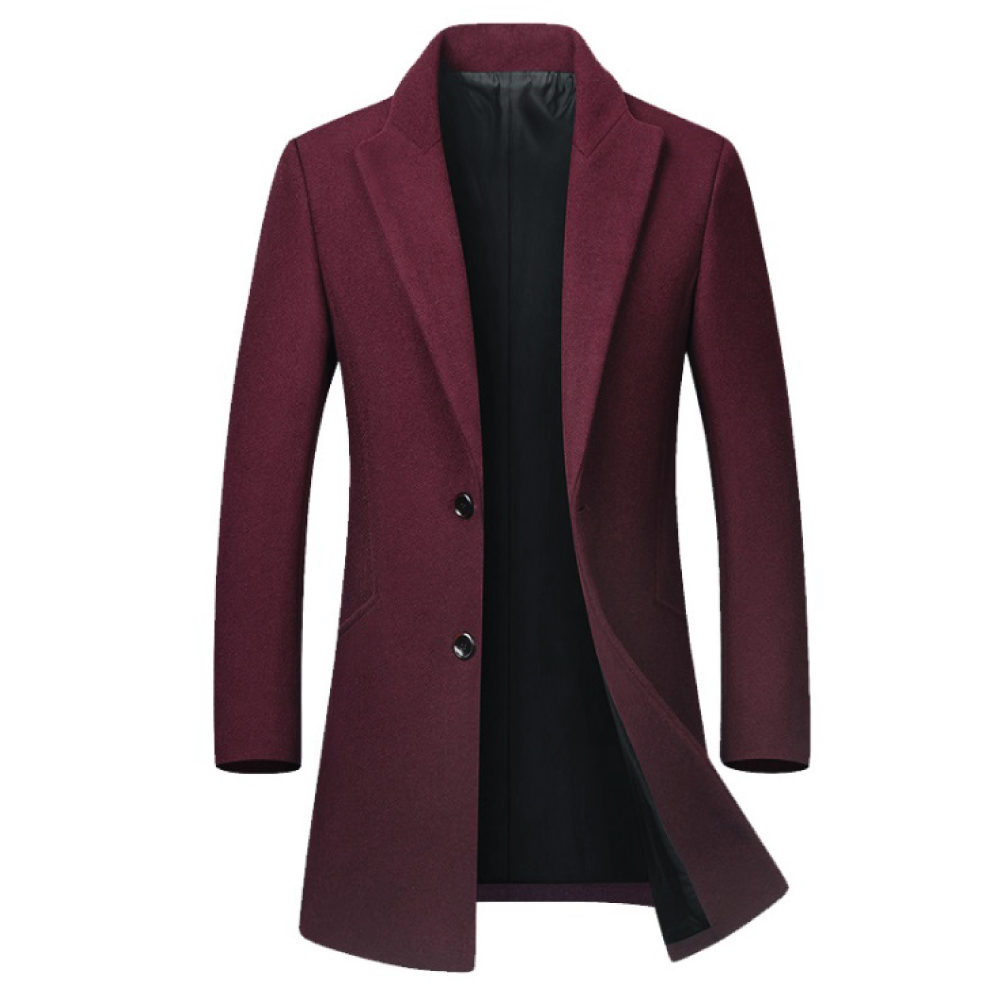 Wool Coat Single Collar - Red Wine