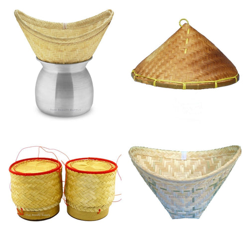 Aluminum Sticky Rice Steamer Set with Lid and Bamboo Serving Baskets