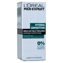 Load image into Gallery viewer, L'Oreal Men Expert Hydra Sensitive Birch Sap Milky Emulsion Anti Pollution 50ml