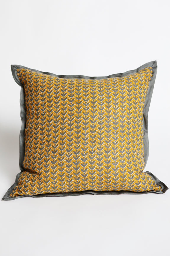 Gold Grey Linen Trimmed Cushion