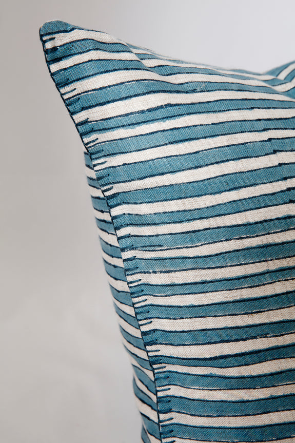 Linen Striped, Blanket Stitched Cushion by HK Edit