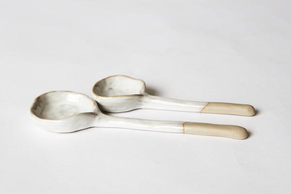 Flint Bisque Spoons [2] - Natural Clay/White
